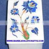 White Marble Inlay Box, Makrana Marble Inlay Box