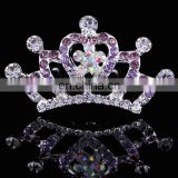 Colorful Rhinestone Princess Crown Korean Style Crystal Heart Shape Crown Tiaras