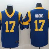 Los Angeles Rams #17 Woods Blue Jersey