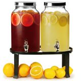 2PC PLAIN  GLASS BEVERAGE DISPENSER WITH BLACK RACK