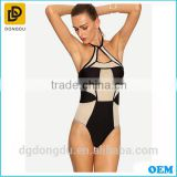 Pretty Quality Sexy One Piece Sexy Swimwear Contrast Mesh Insert Cutout One-Piece Swimwear for Women