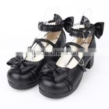 2015 New Fashion Black Pumps Shoes with Bowknot Synthetic leather Rubber-soled High-Quality Gothic Lolita Shoes LL003