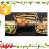 fruit basket,food tray,kitchen accessories S/3 rectangular rush trays with cut-out handle
