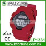 LP1331_Red PU Strap graphic pattarn print Multifunction Digital LCD Display set digital wrist stock watch