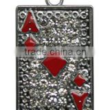 Poker Shape metal Promotion Key Chain Mixed Rhinestone Enamel Poker Key Chain Fashion poker chip key chain