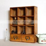 Divided wood storage boxes with drawer,storage box,large wooden suitcases for sundries display for office use