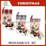 Hot SaleChristmas Home Decoration Christmas Stocking with Machine Embroidery