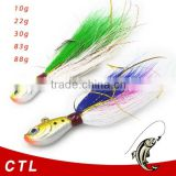 China wholesale jig fishing lure bucktail jig head with hook colorful jig head with skirts jig head fishing lure fishing tackle