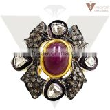 Top New Design Ruby Ring 92.5 Sterling Silver Pave Diamond Ring 14k Gold Diamond Ring Jewelry Supplier