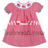 American flags girls bishop smocked dresses