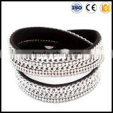 wholesale hot new style imitation leather bracelet,long punk braceletfor men ,chain and rhinestone bracelet for women