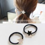 New High Quality Fashion Black White Gold Plated Star Rubber Band Elastic Hair Bands Girls Hair Accessories for Women Headwear