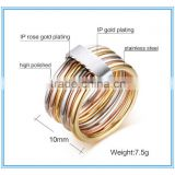2016 Jewelry 18K Gold Plated Stainless Steel Multi Layer Fashion 6 layer Cocktail Party Ring Set Jewelry