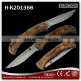 Low Price Camping Survival Burl wood pocket knife