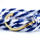 Blue And White Cotton Rope Wrap Fish Hook Bracelet Sailing Anchor Hook Bracelet