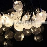 Solar Outdoor String Lights 19.7 ft 30 LED Warm White Crystal Ball Christmas Globe Lights for Garden Path, Party, Decoration