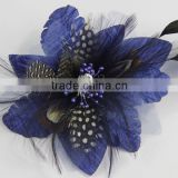 Girls Feather clip Hair Bow Clips Feather Brooch Pin Dark Blue