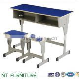 Blue metal table and chair for student