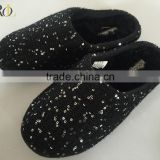 2016 wholesale woman indoor winter slipper shoes cashmere shoe with sequins lady indoor slipper