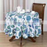 Printed Table Cloth Polyester Blue Flower