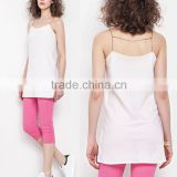 Wholesale pure cotton white simple spaghetti strap long tank top for woman in bulk