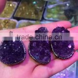 Hot wholesale natural amethyst cluster pandent crystal for ornaments