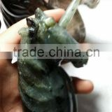 Natural gemstone hand carved labradorite crystal unicorn, animal statue unicorn for gift