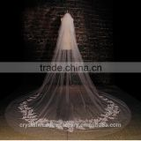 2015 wholesale long lace cathedral wedding veils accessories 3 meters long and 1.5 meters width LV02
