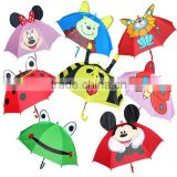 Wholesale long handle polyester waterproof cartoon gift Kids animal umbrella bee frog bear