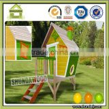 SDPH01 Outdoor Wooden Children Playhouse for Kids Game Slide