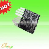 Black fingerless lace gloves for party