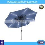 9' Solar Powered LED Strip Lighted Half Patio Garden Umbrella - Blue Color