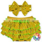 Wholesale Boutique Cheap Nice Baby Underwear Yellow Ruffle Baby Bloomers Set Match Bowknot Headband