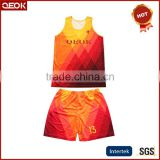 China Manufacturer Sublimation Basketball uniforms jerseys,Men's relax polyester textile Singlets