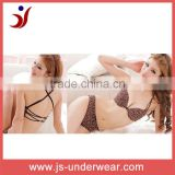 Ladies leopard polyester attractive sexy open bikini sexy bra, young girl back sheer sexy hot micro bikini bra set, micro bikini