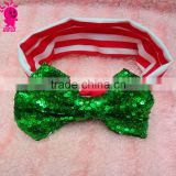 New Design Baby Christmas Headband Girls And Kinds Big Messy Sequin Bow Striped Hairband Christmas Hair Accessories