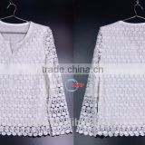 ladies custom-made 2017 latest style with nail bead round collar long sleeve loose white chiffon blouse manufacture wholesales