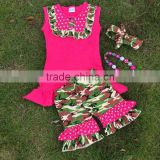Fully stocked new design fashion boutique clothing hot pink camo short with matching necklace and headband sets