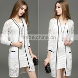 2016 latest designs lady casual women top summer cardigan lace women's coat for wholesale