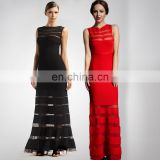 Excellent Quality Adult High Neck Red Evening Gown With Mesh