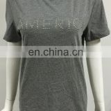 Applique Bead on T-shirt, Lady Apparel from china, 100% cotton T-shirt for American Women
