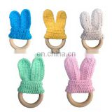 Knitted Rabbit Ear Baby Wood Teether Newborn Handmade Teether Toys