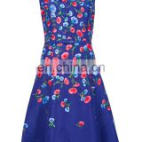 MIKA2532 Sleeveless Colourful Floral Embroidery Flared Clothing