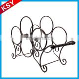 Wholesale High Quality Black Countertop Wall Decorative Metal Wine Racks Shelf
