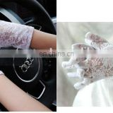 women's sexy black red white ivory wrist length wedding hand gloves driving short lace bridal gloves