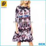 Wholesal Custom Maternity Floral Skater Dress With 3/4 Sleeve And Belt