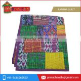Silk Patchwork Quilt Vintage Old Patola Indian Sari Kantha Quilted Throws,Gudari Handmade Tapestery Twin Bedding