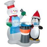 outdoor Christmas decoration fun inflatable snowman and penguin for sale