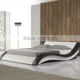 Latest Double Bed Designs S Shaped Bed Frame Made From Leather Black And White Color