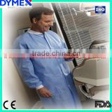 Nonwoven Medical pp Lab Coat with Knitted Collar and Cuffs